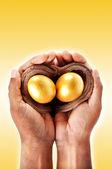 Handen gouden ei concept — Stockfoto