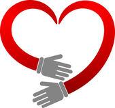 Corazón de mano — Vector de stock