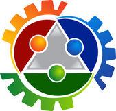 Human gears logo — Stock Vector