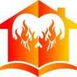 Stock Vector: Flame house