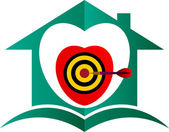 Aim target home logo — Stock Vector