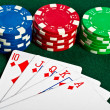Chip and cards for the poker. - Stock Photo