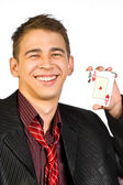 Unga lyckliga spelare med kort — Stockfoto