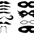 Stock Vector: Masks and mustaches