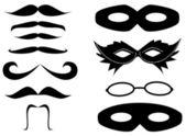 Masks and mustaches — Stock Vector