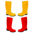 Yellow and red rubber boots — Stock Vector