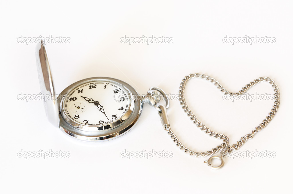 Pocket watch with chain in the form of a  heard  on white background — Stock Photo #11174971