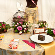 Stock Photo: Table decorated with objects for wedding