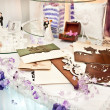 Stock Photo: Table decorated with wedding objects