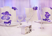 Purple wedding tables — Stock Photo