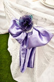 Purple Chair Wedding Bow — Stock Photo