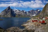 Fishing village by fjord — Stock Photo