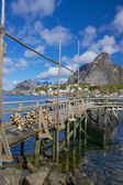 Träpiren i fjorden — Stockfoto