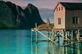 Old fishing port by fjord — Stock Photo