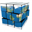 Earth cube twisting — Stock Photo