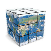 Earth cube with atmosphere — Stock Photo