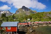 рыбалка домики на лофотенских островах — Стоковое фото