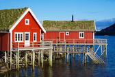 Rorbu cabanas em reine — Foto Stock