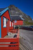 Red rorbu fishing huts — Stock Photo