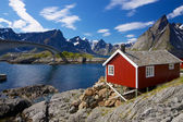 Red rorbu fishing hut — Stock Photo