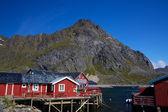 Cabanes de pêcheurs rorbu rouge — Photo