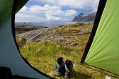 ロフォーテン諸島でのキャンプ — ストック写真