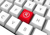 Keyboard, key with Registered mark symbol — Stock Photo