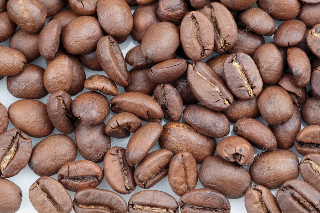 Spilled coffee beans on white background. — Stock Photo #10862143
