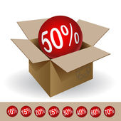 Box with a discount — Stock Vector