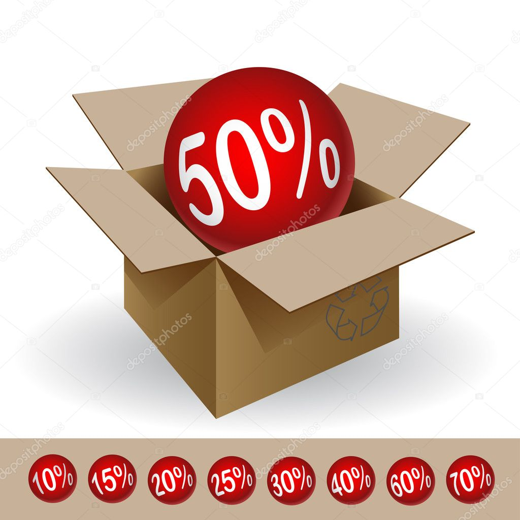 Box with a discount, on a white background. Vector.  — Stock Vector #11074856
