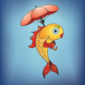 Magic golden fish with umbrella — Stock Photo