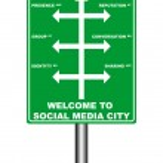 Social Media Signboard — Stock Vector