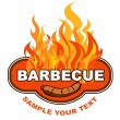 Barbecue sticker on fiery background. — Stock Vector #10980837