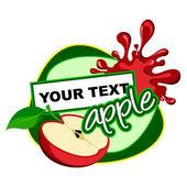 Apple label. Fruit background for design. — Stock Vector