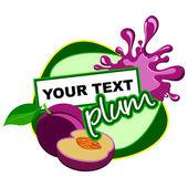 Plum. Fruit background for design. — Stock Vector