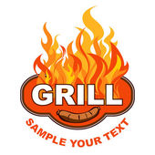 Grill sticker on fiery background. — Stock Vector