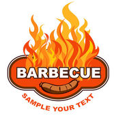 Barbecue sticker on fiery background. — Stock Vector