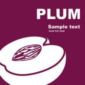 Fruit label. Plum. — Stock Vector