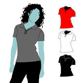 Woman t-shirt polo with short sleeves with body silhouette. — Stock Vector