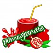 Stock Vector: Pomegranate juice pouring.