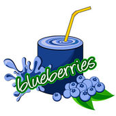 Blueberries juice pouring. — Stock Vector