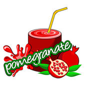 Pomegranate juice pouring. — Stock Vector