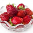 Ripe strawberries in a glass bowl — Stock Photo