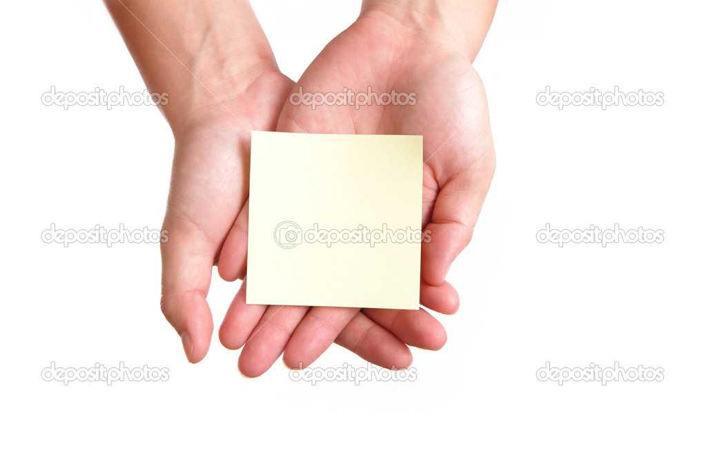 Empty note paper in the hand — Stock Photo #10920927