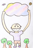 Child Painting - kid happy hug colorful cloud — Stock Photo