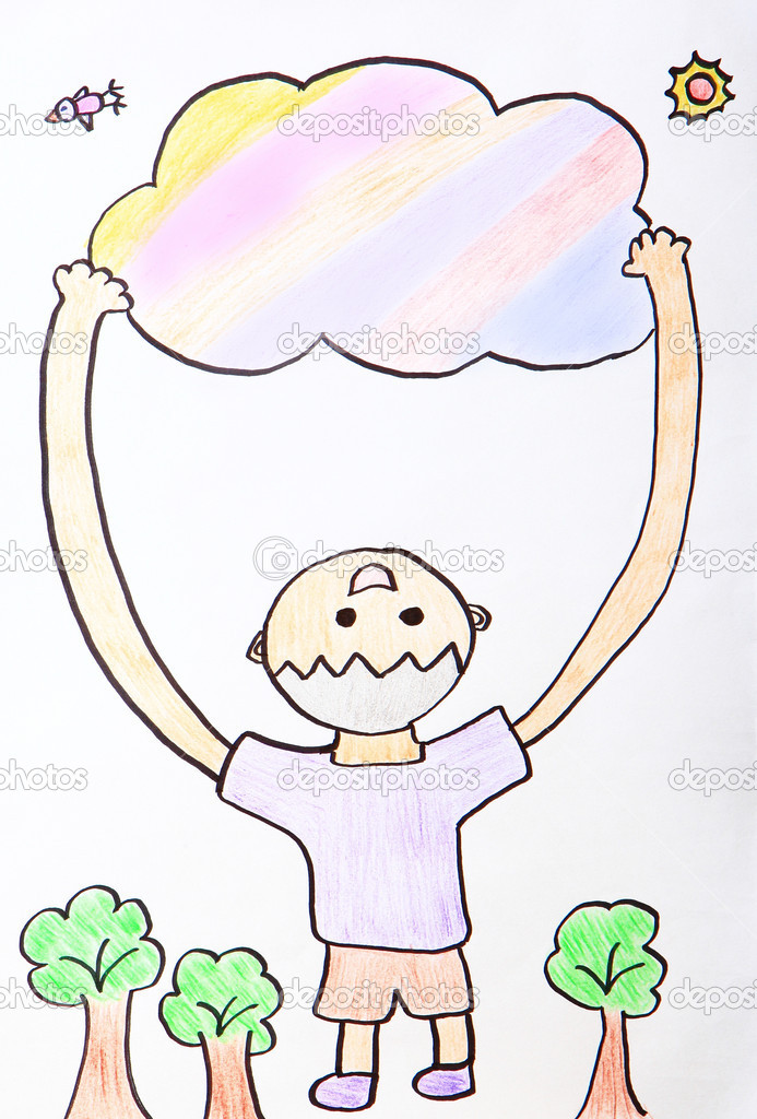 Child Painting - kid happy hug colorful cloud in the sky with green tree and sunshine  Stock Photo #11072902