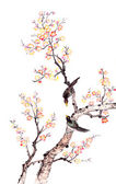 Traditional Chinese painting of plum blossom — Stock Photo