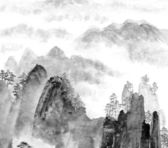 Chinese painting of mountain and cloud — Stock Photo