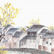 Traditional Chinese painting of old country house landscape — Stock Photo