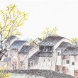 Traditional Chinese painting of old country house landscape — Stock Photo #11900320